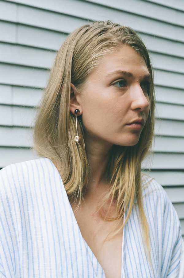Faris Pink Pearl Drop Earrings