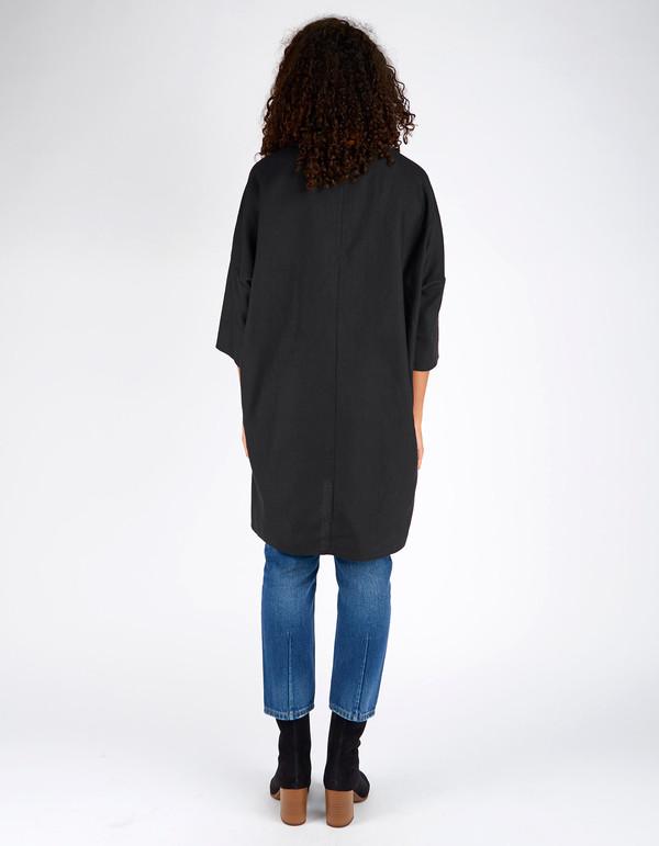 Ali Golden Raw Silk Kimono Tunic Black