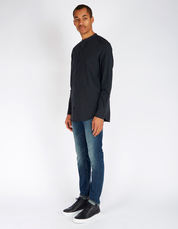 Neuw Mandarin Collar Shirt Black