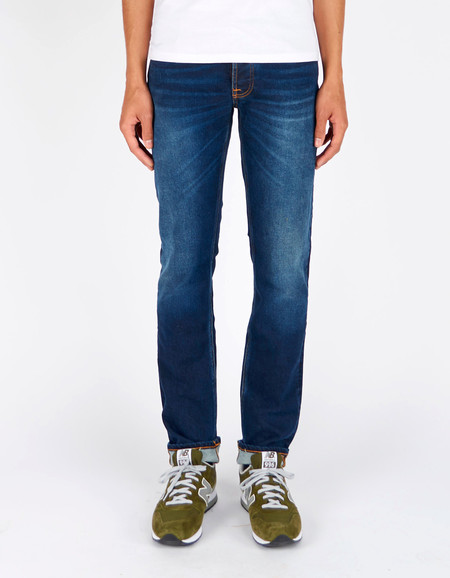 Men's Nudie Grim Tim Used Big Twill Washed Indigo
