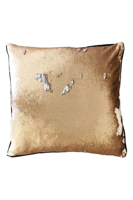 Heidi Merrick Copper Silver Euro Sequin Pillow