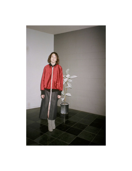 Alexa Stark Red Silk Bomber Jacket