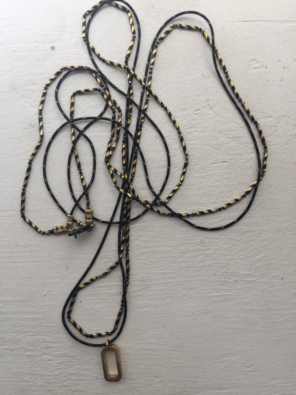 Mercurial Long Gatsby Necklace Black and Gold Beaded Chains