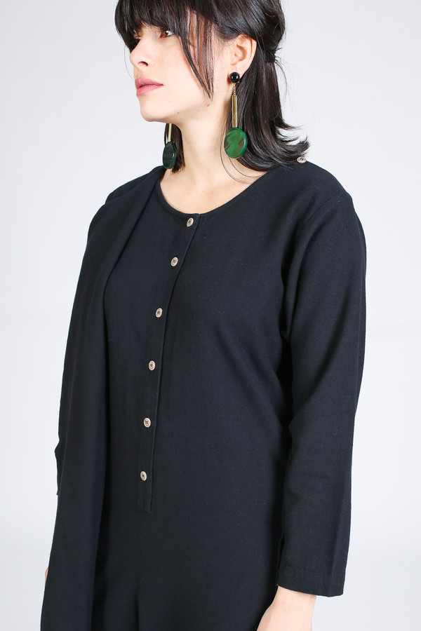 Black Crane Folding Jumper in Black