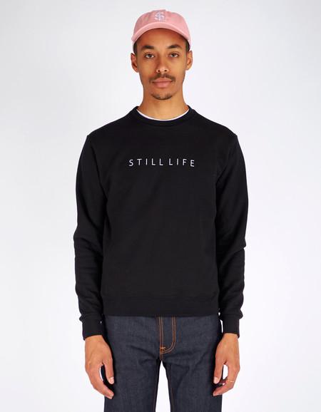 Men's Still Life Logo Crew Neck Sweater Black