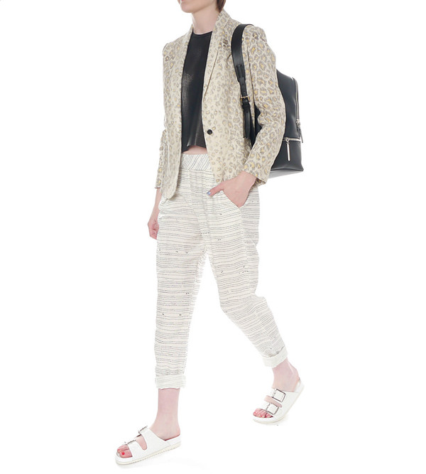 Raquel Allegra Linen Pant with Dot Pattern