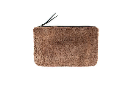 Primecut MEDIUM BROWN SHEEPSKIN CLUTCH