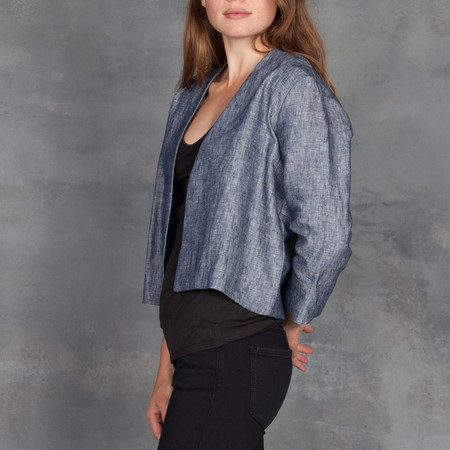 Ali Golden Blue Chambray Linen Jacket