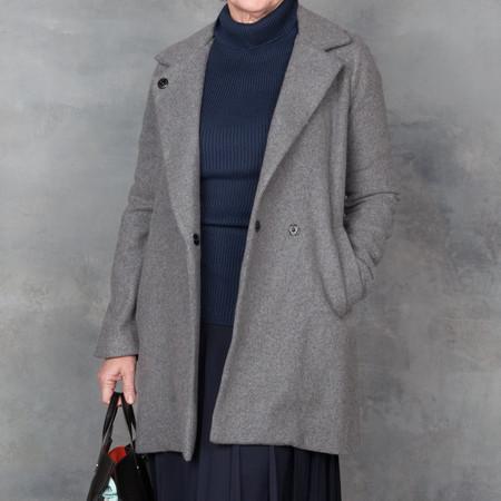 Ali Golden Notch Collar Coat Grey