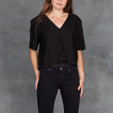 Ali Golden V Neck Top in Black Cotton