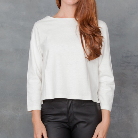Apiece Apart Cotton 3/4 Cropped Tee Ivory