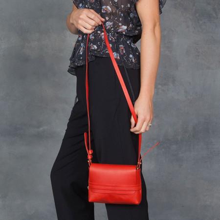 Clare V. Petit Lou Red Vachette Cross Body Bag in Poppy Red