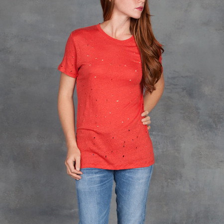 IRO Clay Short Sleeve Tee with Deconstructed Holes in Poppy Red