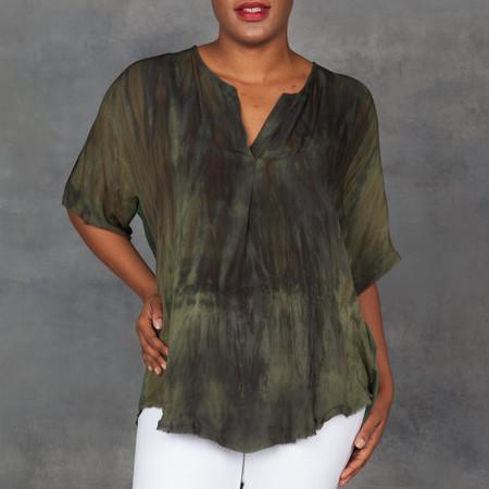 Raquel Allegra Jersey Tunic Olive Tie Dye