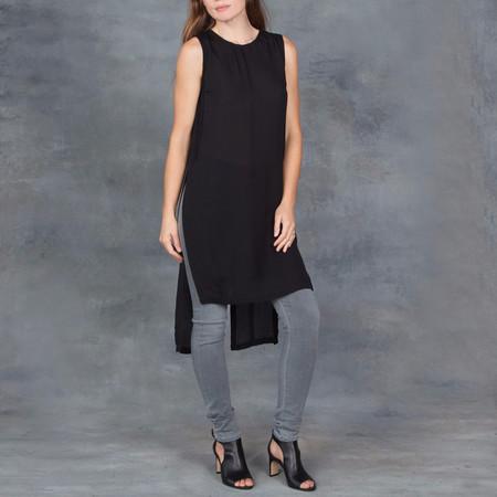 Sen Gem Black Sheer Silk Sleeveless Tunic Top