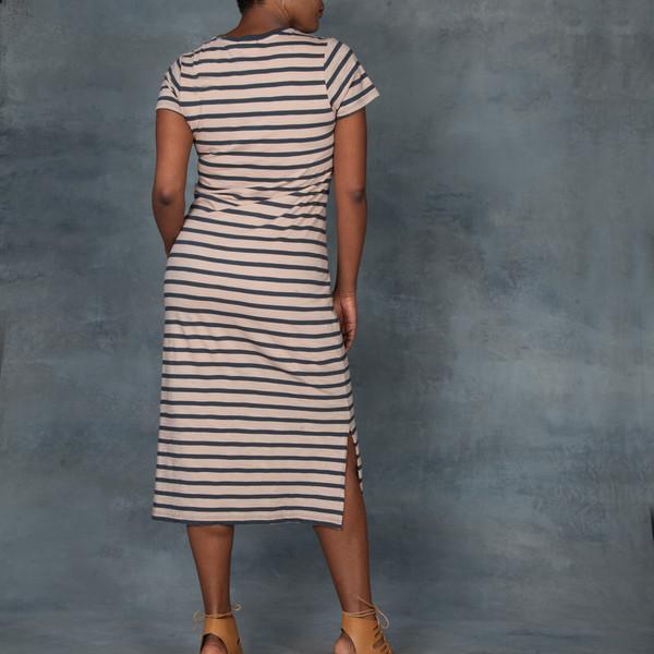 Skin Kara V Neck Maxi T-Shirt Stripped Dress