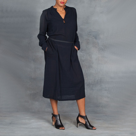 Humanoid Crinkle Cassy Dress in Navy