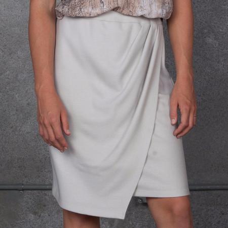 Obakki Wool Blend Drape Skirt in Light Grey