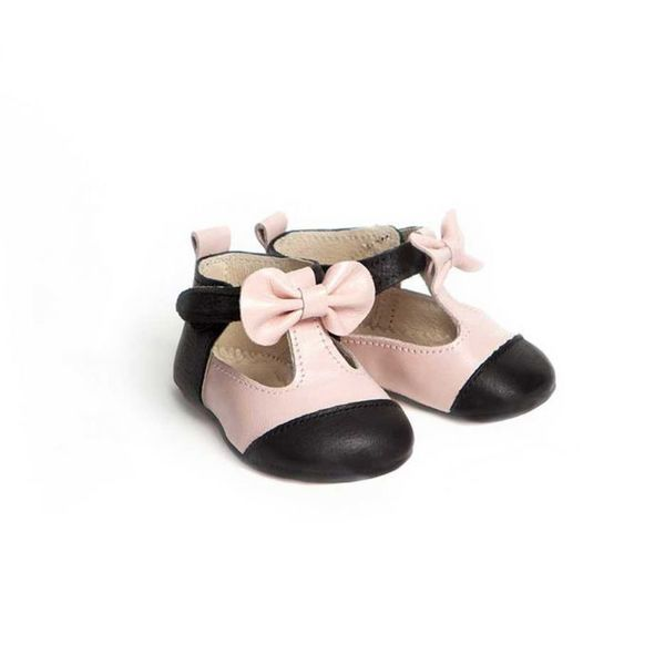 Little Lulu's Pink and Black Matilda T-Bars with Bows