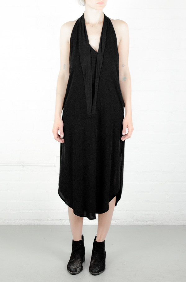 Assembly New York Assembly Black Crepe Shawl Dress