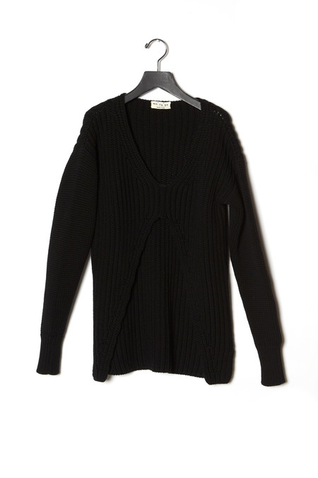 Ma'ry'ya Front Slit Ribbed Sweater