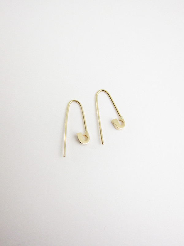 Lauren Klassen Tiny Safety Pin Hook Earrings, 14k gold