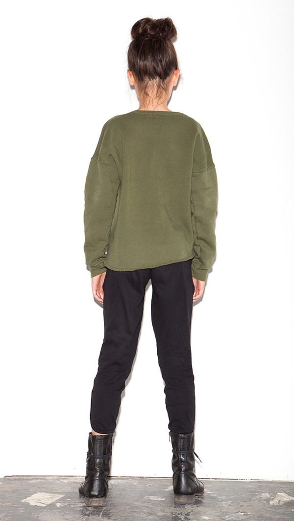 Asym Hem Sweatshirt - Olive