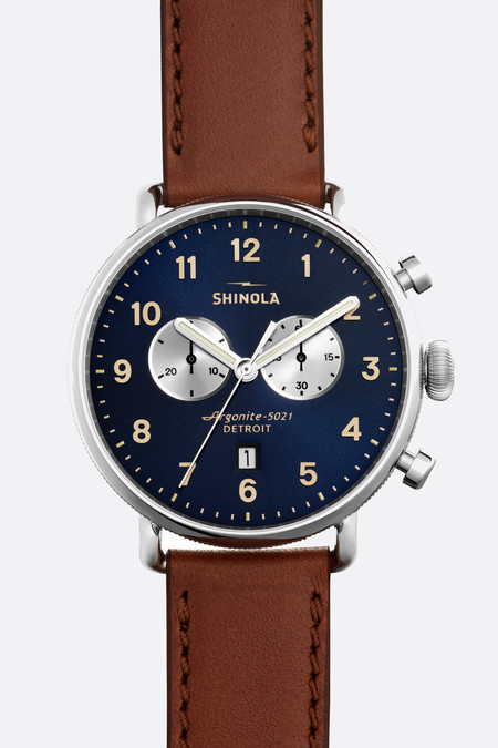 Shinola The Canfield Chrono 43mm Watch in Midnight Blue/Dark Cognac