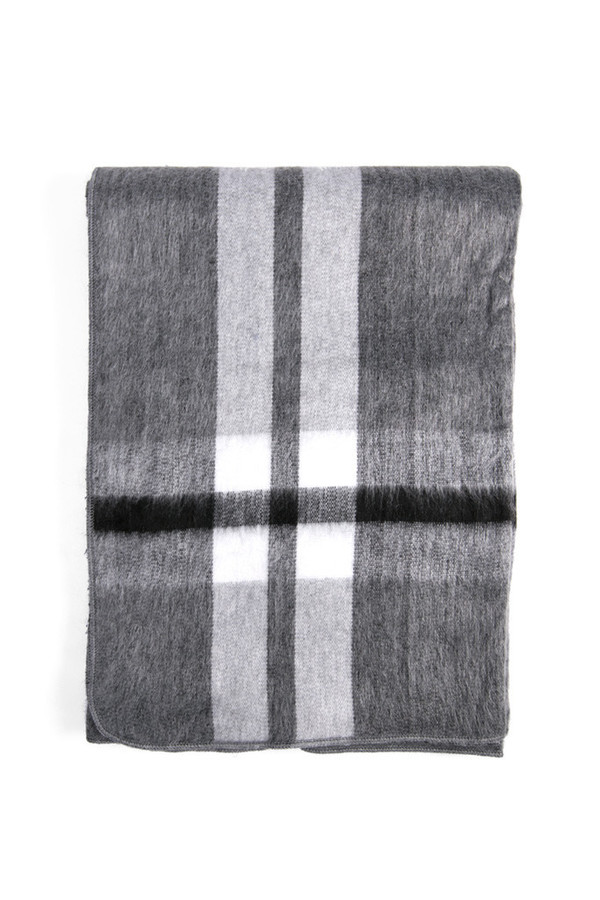 Carvieira Alpaca Blanket Charcoal Grey Plaid