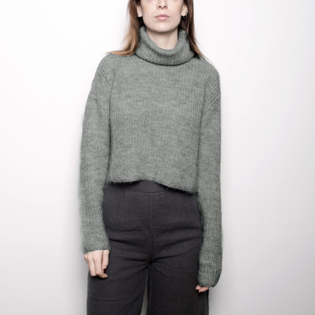 7115 by Szeki Mohair Turtleneck Cropped Sweater - Eucalyptus FW16