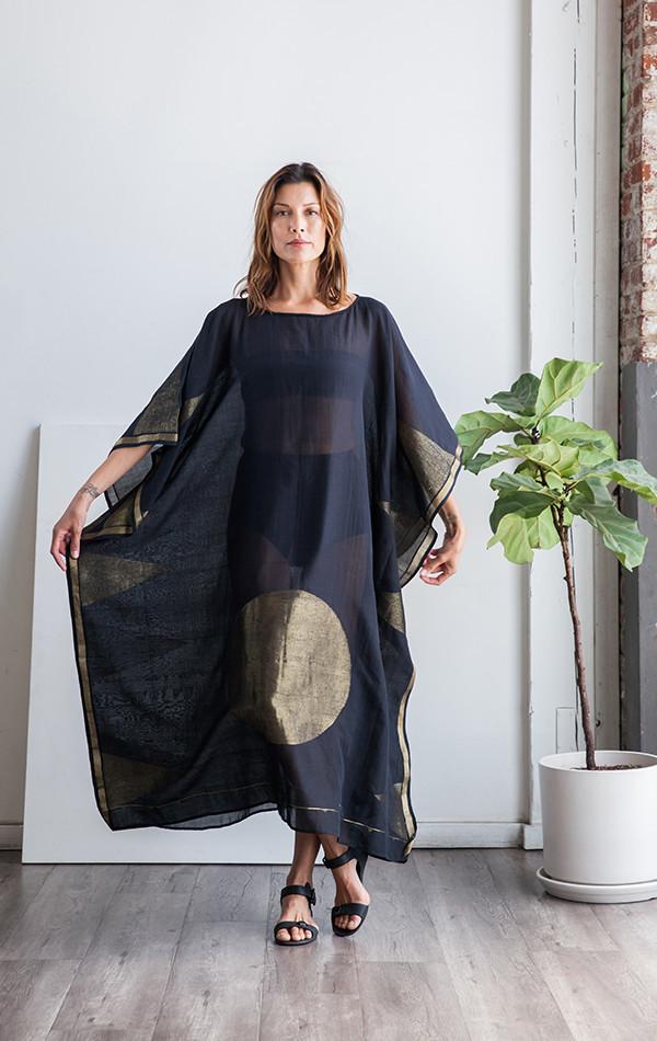 Two color block/stripe sari caftan
