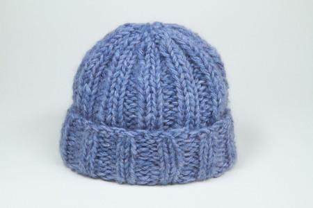 Clyde Fold Knit Hat in Purple Melange