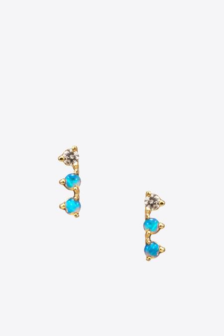 Wwake Inc. Three Step Opal and Diamond Earrings