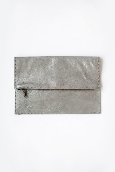 Sunday Supply Co. Pewter Suede Clutch