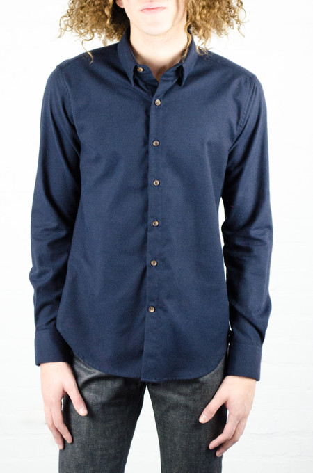 18 Waits Solid Navy Flannel Dylan Shirt
