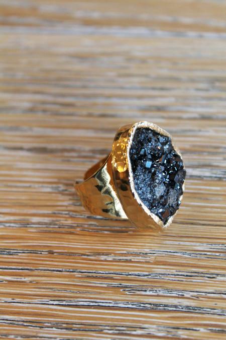 sheila b black garnet cocktail ring