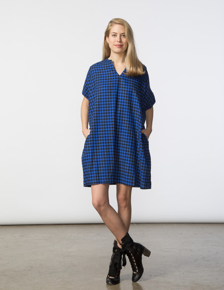 SBJ Austin Mary Dress in Navy Embroidered