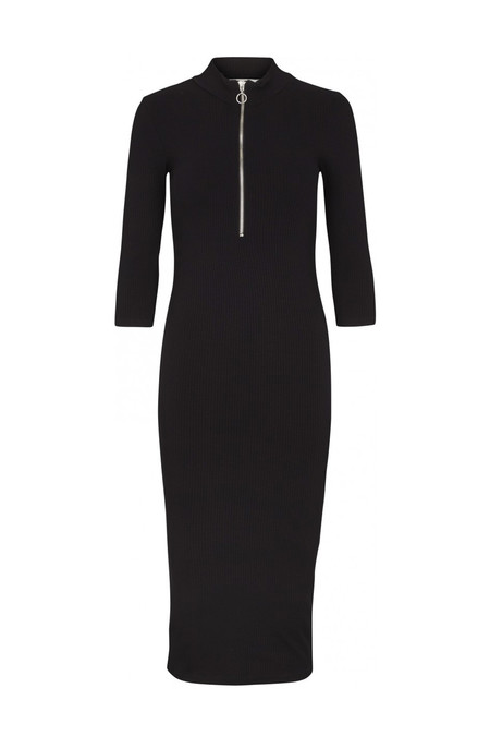 Just Female Rainy Rib Zip Dress - Black