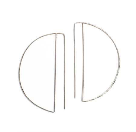 Lila Rice Large Silver Deco Hoops
