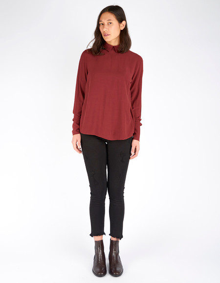 Just Female Garland Blouse Oxblood