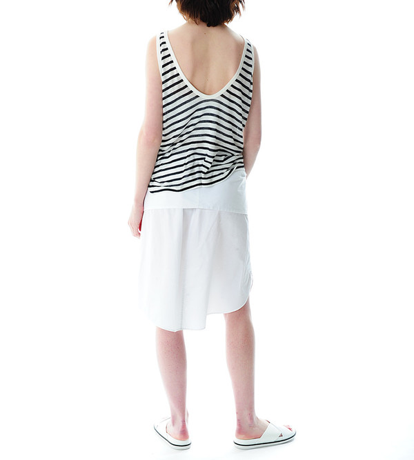 T By Alexander Wang White Cotton Poplin Sleeve Tied Skirt