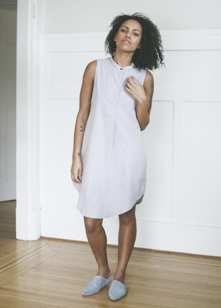 The Sleep Shirt Sleeveless Sleep Shirt in Grey Herringbone