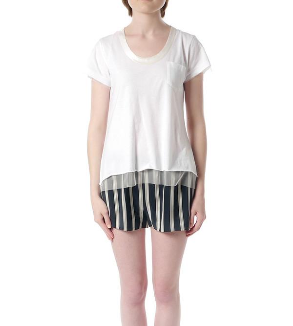 Sacai Luck White T-Shirt with Mesh Underlay