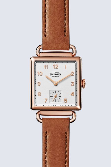 Shinola The Cass 28mm Watch in Milky White/Bourbon