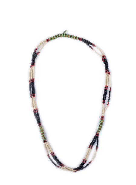 Men's Fortune Goods Montagnard Bead Necklace, BL/CR/JD