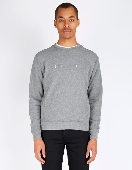 Men's Still Life Logo Crew Neck Sweater Heather Grey