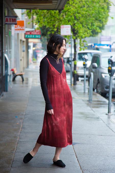 lacausa dual satin dress in heirloom crimson