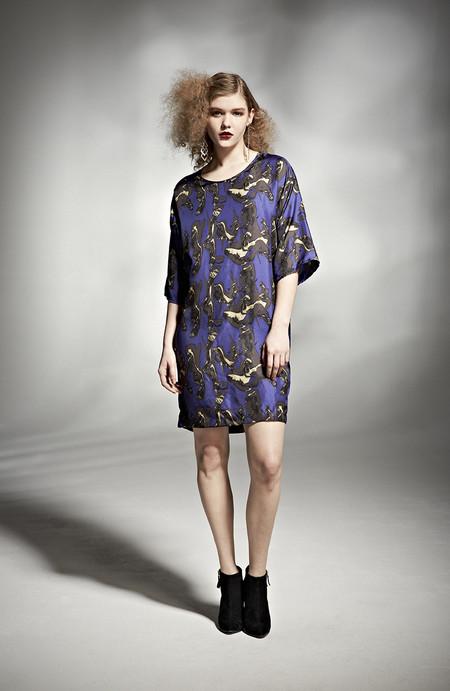 H. Fredriksson W 14 Alex Dress Blue Crinkle