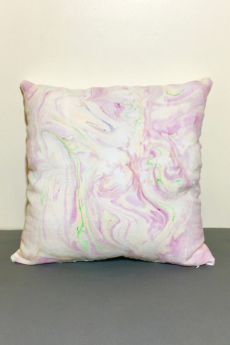 Christina Kosinski Marbled Linen Pillow, Pink/Green