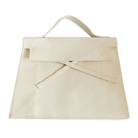 Slow and Steady Wins the Race Trapezoidal Bag in Natural Canvas